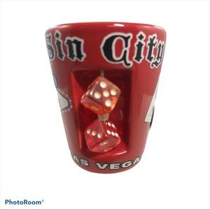 Other - Las Vegas Red Shot Glass Movable Rolling Dice Sin